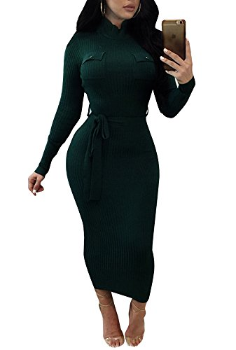 Sweater Dress Bandage (Remelon Womens Casual High Neck Stretchy Comfy Ribbed Tie Waist Bandage Fitted Sweater Midi Dress Green M)