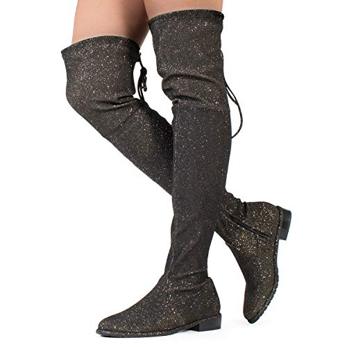 RF ROOM OF FASHION Women's Over The Knee Low Block Heel Pull On Stretch Boots ?Available in Medium and Wide Calf Gold Fabric