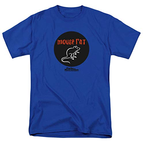 Parks & Rec Mouse Rat Pawnee Band Royal Blue T Shirt & Exclusive Stickers (Medium)