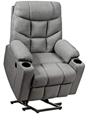 DORTALA Power Lift Recliner Chair, Electric Reclining Living Room Sofa for Elderly w/ 8 PointMassage& Lumbar Heat, Overstuffed Motorized Sofa Chair w/ USB Port, Cup Holders, Remote Control, Side Pocket