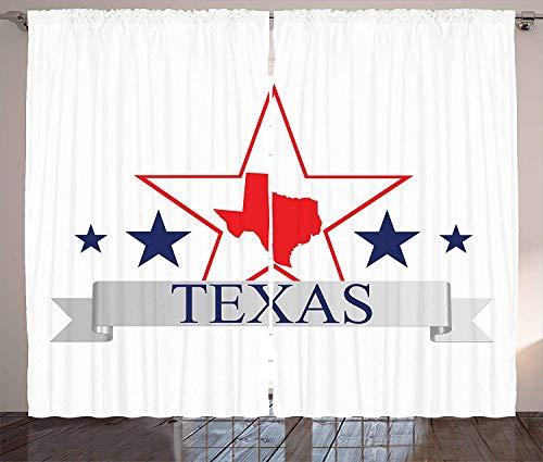 SODIKA Blackout Curtain Panels for Bedroom Windows Texas Star Curtains San Antonio Dallas Houston Austin Map with Stars Pattern USA,2 Panels,52
