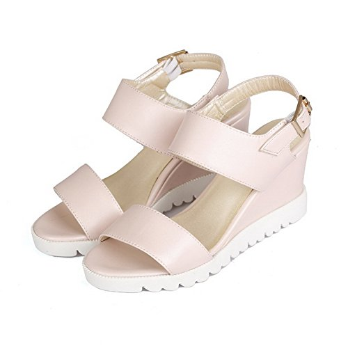 AllhqFashion Women's Open Toe High Heels Solid Soft Material Buckle Sandals Pink LT9iw2