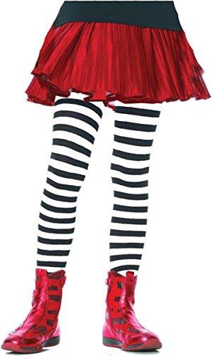 Leg Avenue Tights Child Striped, Black/White - Black Halloween Costume White Striped And Ideas