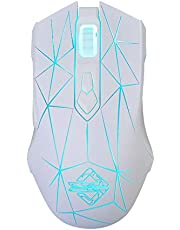 Docooler Ajazz AJ52 7 RGB Backlit Modes Wired Professional E-sport Gaming Mouse قابل للتعديل DPI 750/1000/1250/1750/2000/2500 أبيض+النمط