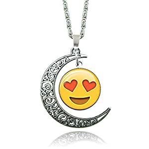 Silver Plated Emoji Face Pendant Necklace for Women - Smiling Face