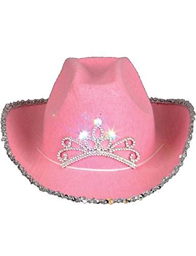 Child's Pink Blinking Tiara Sparkle Glitter Cowgirl Cowboy Hat Costume -