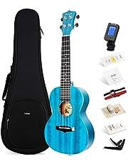 Enya Concert Ukulele 23 Inch Blue Solid Mahogany Top Ukelele Beginners Starter Kit Includes Online Lessons, Case, Strap, Strings, Capo, Sand Shaker, Pick, Polish Cloth (EUC-25D BU)
