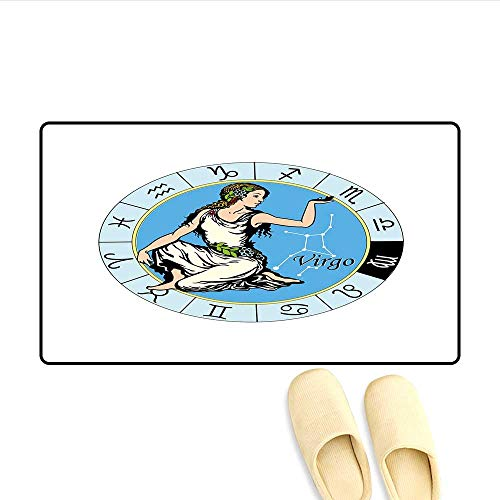 Door-mat Astrological Zodiac Sign with Woman Holding Her Hand Up with Cool White Dress Flowers Door Mats for Inside Bathroom Mat Non Slip Multicolor 20