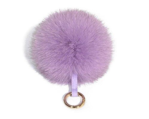 ETENOVA Genuine Fox Fur Pom Pom Keychain Fluffy Fur Ball Keychain Car Keyring Womens Handbag Charms ()