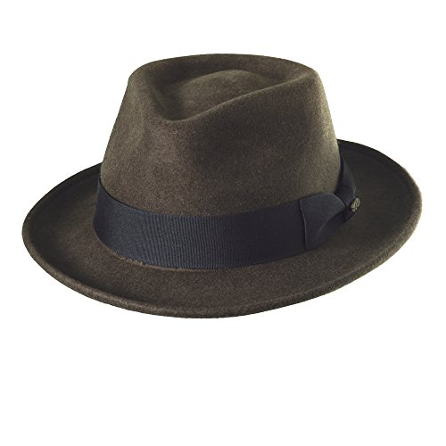 SCALA Classico Men's Crushable Water Repelant Wool Felt Fedora Hat (L, -