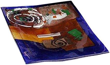 Jasmine Art Glass 8-20004 Fused Art Glass Square Plate