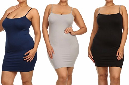 ICONOFLASH 3 Pair Pack - Women's Seamless Long Camisole Slip Dress (Navy/Gray/Black, One Size -