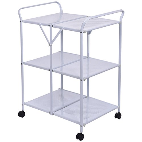 Cheap giantex 3 tiers folding steel kitchen trolley dining serving island cart rolling white - Cheap kitchen island cart ...