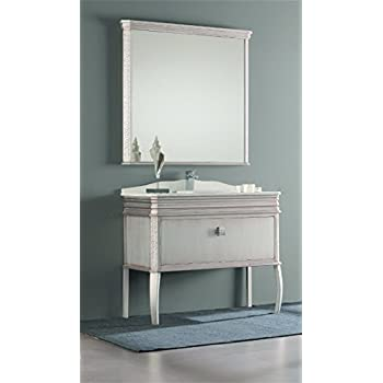 this item london 40inch wide bathroom vanity cabinet set single sink antique silver lacquered single sink white quartz marble counter top ceramic