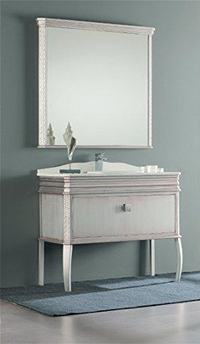 London 40-inch Wide Bathroom Vanity Cabinet Set Single Sink Antique Silver Lacquered Single Sink ... & London 40-inch Wide Bathroom Vanity Cabinet Set Single Sink ...