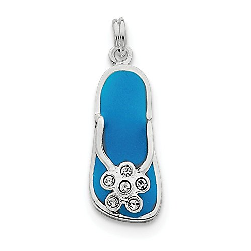 925 Sterling Silver Enameled Cubic Zirconia Cz Flip Flop Necklace Pendant Charm Sea Shore Sal Fine Jewelry Gifts For Women For Her