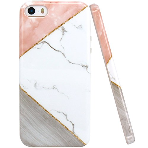 JAHOLAN iPhone 5 Case, iPhone 5S Case Pink Geometric White Marble Design Slim Shockproof Clear Bumper TPU Soft Case Rubber Silicone Cover Phone Case for iPhone 5 5S SE