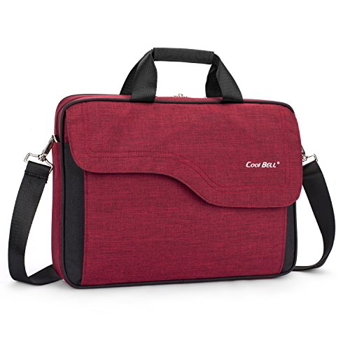 CoolBELL 15.6 Inch Nylon Laptop Bag Shoulder Bag with Strap Multicompartment Messenger Hand Bag Tablet Briefcase for iPad Pro/Laptop / MacBook/Ultrabook / Men/Women / College (Red) - Flap Over Computer Briefcase