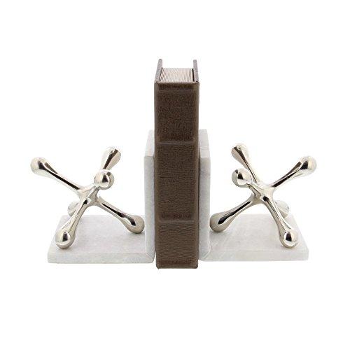 Benzara Aluminum Decorative Bookends Bm118134 Benzara Amusing Aluminium Marble Bookend, Silver 5 X 5 X 5 Inches White