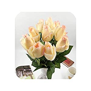 6 Heads Real Touch Spring Latex Flowers Artificial Rose Flowers Bouquets for A Wedding Home Office Decoration,B Champagne 2 73