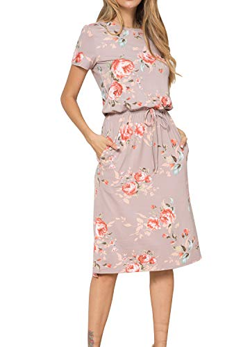 Print Tie Waist Dress - Women Side Split Tie-Belt Casual Pockets Midi Work Floral Print Dress Khaki S