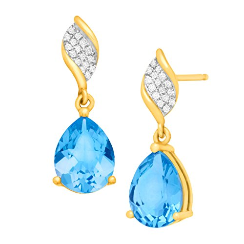 Pink Topaz Cluster - 4 1/2 ct Pear-Cut Natural Swiss Blue Topaz Drop Earrings with Diamonds in 10K Yellow Gold