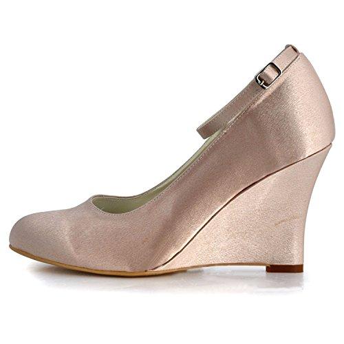 Minitoo GYMZ701 Womens Wedge High Heel Satin Evening Party Prom Bridal Wedding Shoes Pumps Sandals Flatfs Champagne-9cm Heel JZmrzv