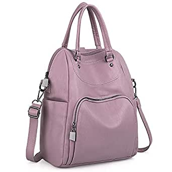 UTO Women Backpack Purse PU Washed Leather Convertible Ladies Rucksack Crossbody Shoulder Bag Light Purple
