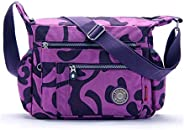 Womens Multi Pocket Nylon Floral Shoulder Bag,Crossbody Bag Messenger Bags Travel Handbags With Adjustable Str
