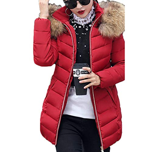 Long Jacket Sleeved Long Women's Winter Yefree Warm Solid Wine Red Color BCYOaqFw