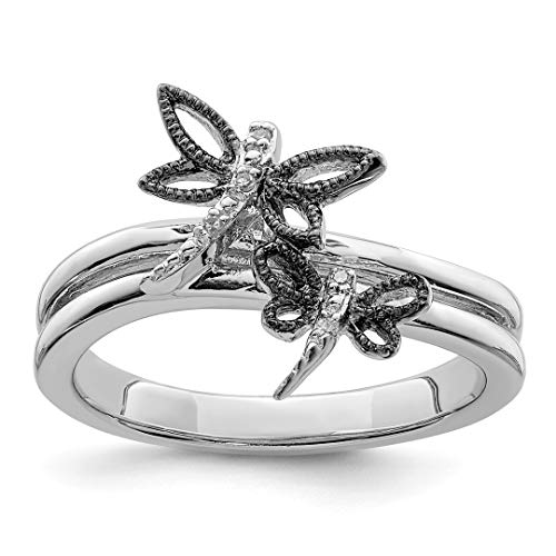 (925 Sterling Silver Diamond Black Dragonfly Band Ring Size 8.00 Butterfly Fine Jewelry For Women Gift Set)