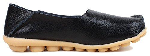 Zapatos Con Cordones De Cuero Para Mujer De American Trends Mocasines Con Cordones Zapatillas Sin Cordones Slip-on Black