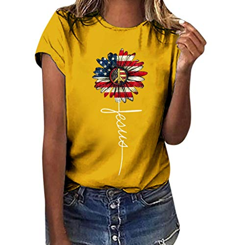 Graphic t Shirt for Women,SMALLE◕‿◕ Women Sunflower Flag Printed Tee Plus Size Short Sleeve Blouse Tops - July 4th Yellow