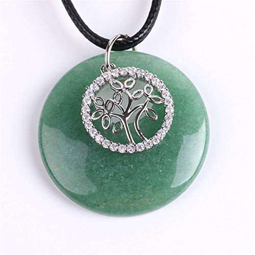 Natural Stone Necklaces Pendants Crystal CZ Beads White Purple Quartz Onyx Tree Of Life Jewellery Gifts Green Aventurine