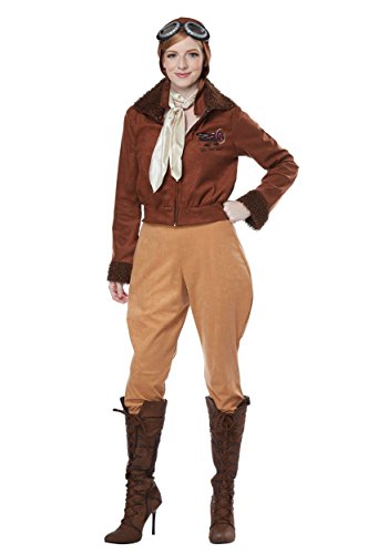 California Costumes Women's Amelia Earhart-Aviator-Adult Costume, Brown, -