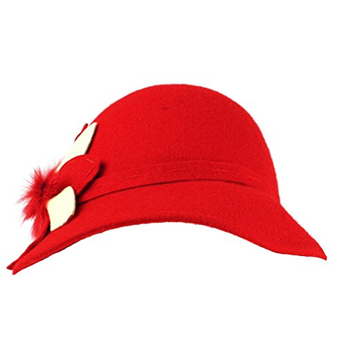 100% Wool Real Fur Floral Winter Structured Cloche Bucket Bell Church Hat Red (Bell Bucket Hat)
