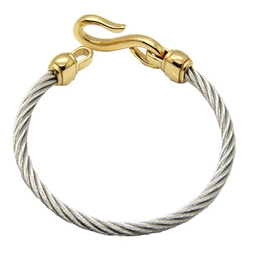 Twist Wire Bracelet (Baoli 18k Gold Plated Stainless Steel Cable S Hook Infinity Wire Twist Bracelet)