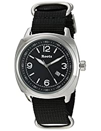 Roots Men's 'Core' Quartz Stainless Steel and Nylon Casual Watch, Color:Black (Model: 1R-PR100BA7B)