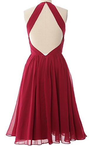 Back MACloth Cocktail Bridesmaid Open with Chiffon Gown Women Short Dress Himmelblau Halter ZvvUqwF