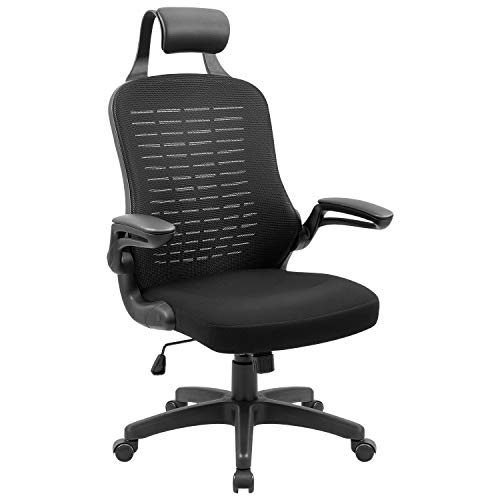 Devoko Computer Desk Chair High-Back Ergonomic Swivel Mesh Office Chair with Headrest and Flip-Up Armrest (Black)