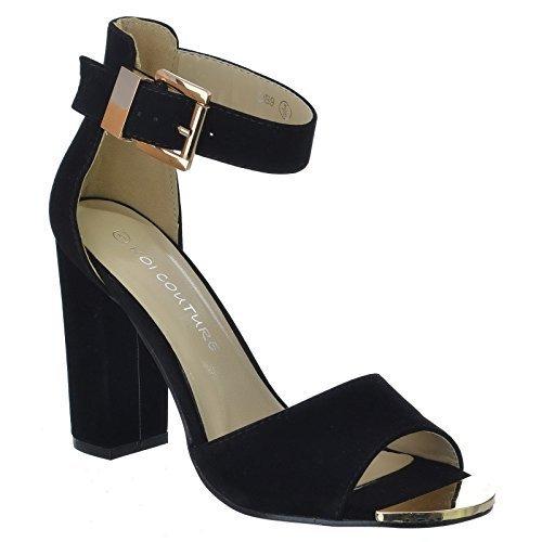 Damen Damen High Heel Stiletto Peep Buckle Wies Gericht Schuhe Pumps Sandalen