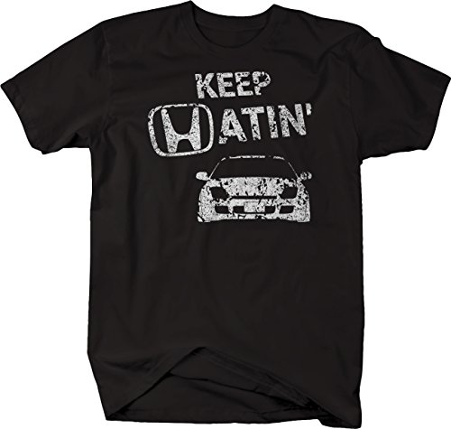 OS Gear Distressed - Keep Hatin Racecar Prelude Lowered Fast JDM Race Tshirt - Large Black