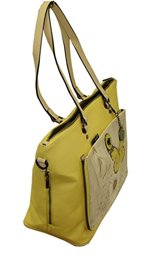 BORSA DONNA Y NOT? R004 SHOPPING BAG TASCA REVERSIBILE CON TRACOLLA GIALLO