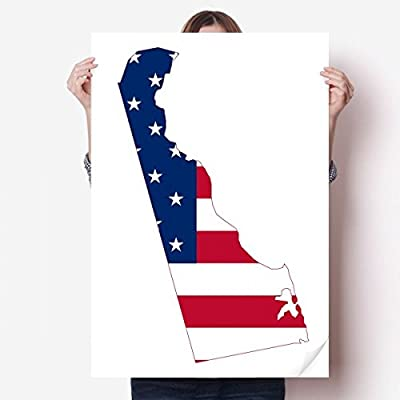 DIYthinker Delaware USA Map Stars Stripes Flag Shape Vinyl Wall Sticker Poster Mural Wallpaper Room Decal 80X55cm