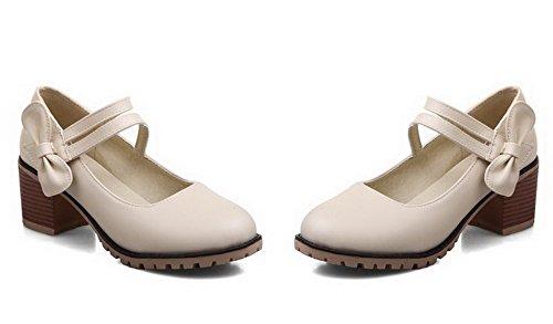 Heels Loop Hook Kitten Women's Round Beige Pump Toe Shoes and WeenFashion EwCq6Xx4w