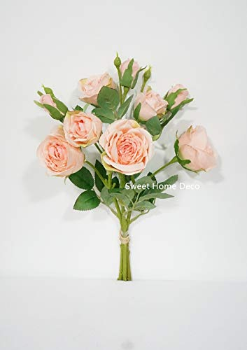 Sweet Home Deco, 17'' Silk Cabbage Rose, Artificial Floral Bunch, Single Stems, Wedding/Home/Party Decorations, Realistic Roses (Light Pink) (Rose Deco Sweet Home)
