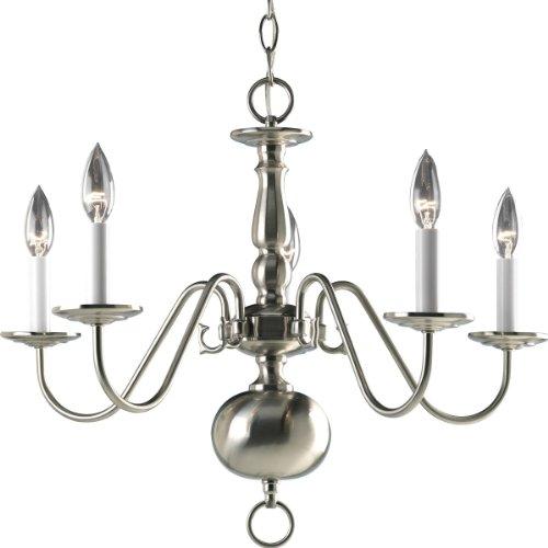 Progress Lighting - Lámpara de araña americana con brazos delicados y columna central decorativa y lámparas de candelabro,...