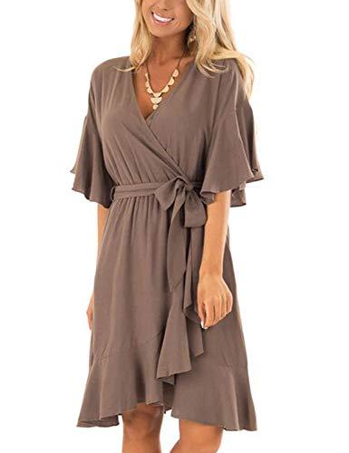 BMJL Women's Flounce Sleeve Soft Short Dress Tie Wrap Knit Middle Dresses