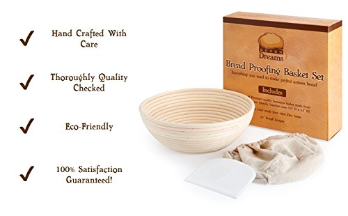 Bread Proofing Basket 10 Inch Set | Large Rattan Banneton w/ Dough Scraper, Linen Liner and Helpful Instructions | Perfect for New Bakers | For Artisan Boule Sourdough Bread Making by DoughDreams (Image #3)