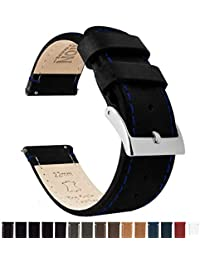 Barton Quick Release Top Grain Leather Watch Band Strap - 16mm, 18mm, 20mm, 22mm, 24mm - Black/Blue Stitching 22mm